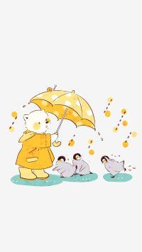 下雨 熊 雨衣 雨伞 企鹅 撑伞 避雨