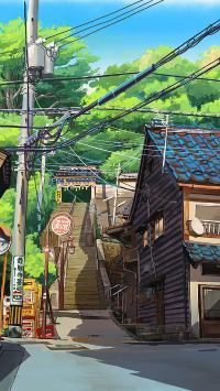 道路 房屋 电线杆 阶梯