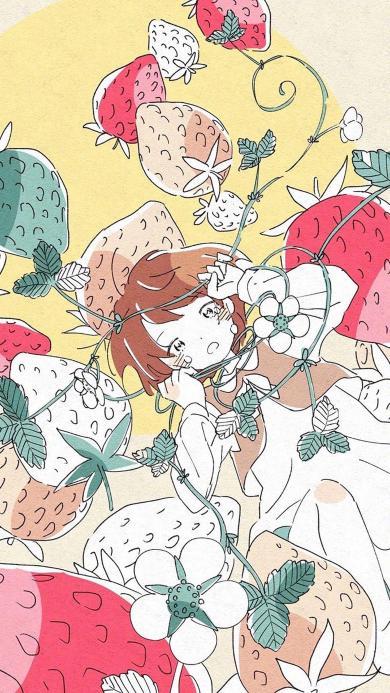动漫 女孩 草莓 缠绕