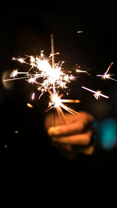 小烟花 点燃 火花 庆祝