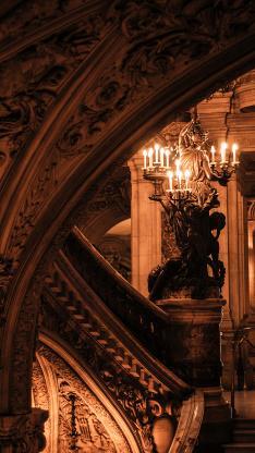 建筑 设计 雕刻 古堡 异域 烛光 阶梯
