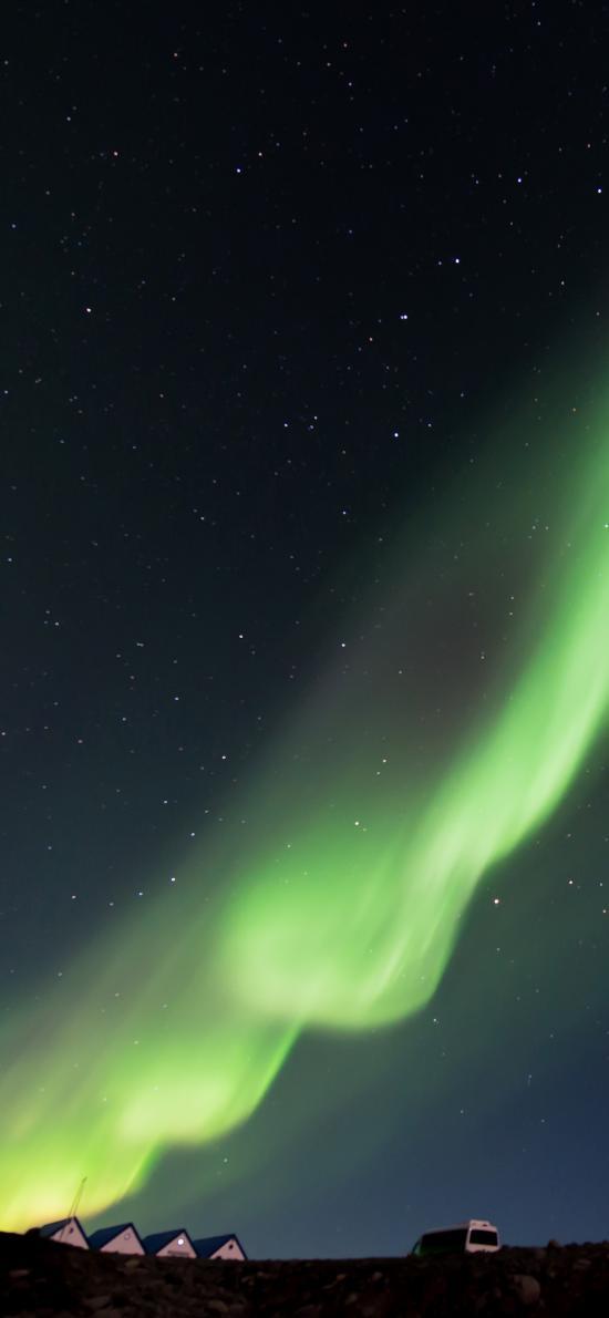 北极 极光美景 绿色