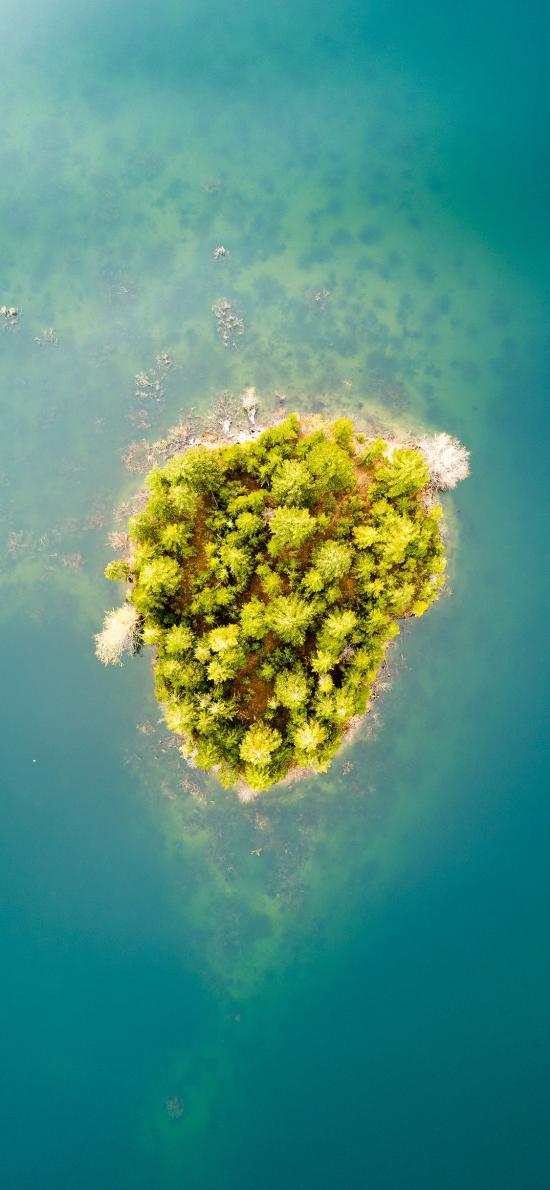 俯拍 大海 小岛 绿植