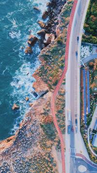 海峡 浪花 道路 车辆 自然美景