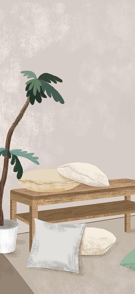 家居 桌子 抱着 盆栽 手绘