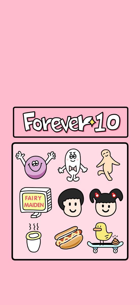 粉色背景 forever 10 卡通 图标