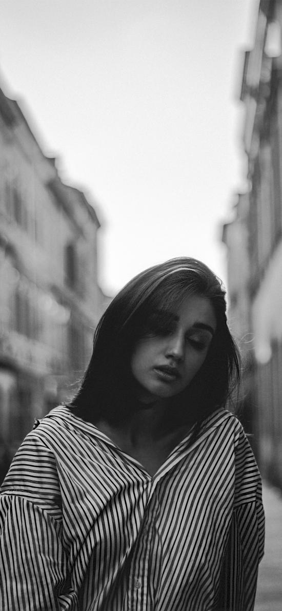 欧美美女 街拍 黑白