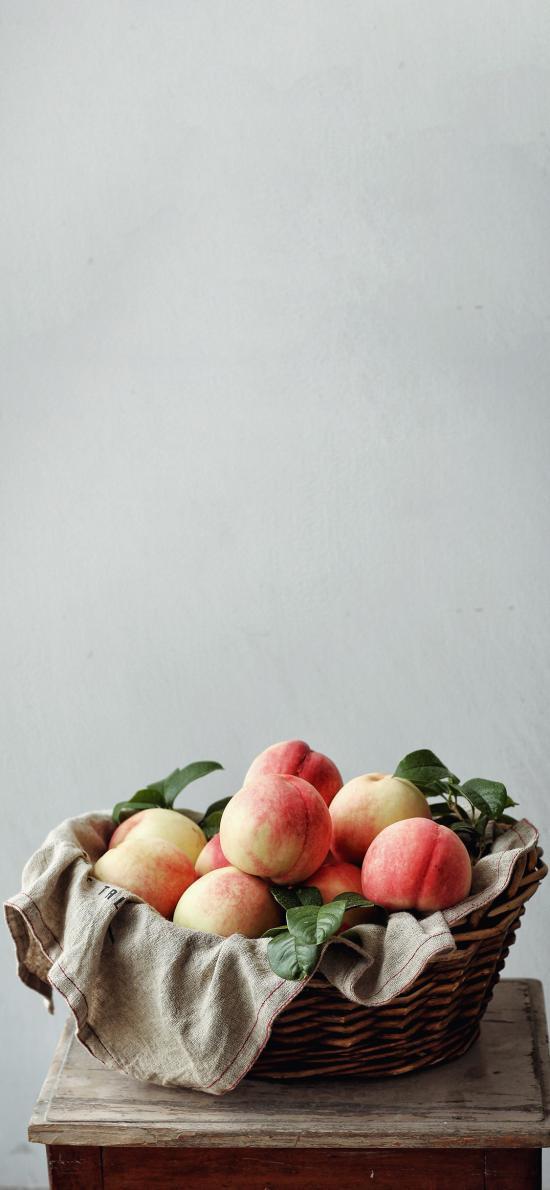 篮子 水果 桃子 水蜜桃