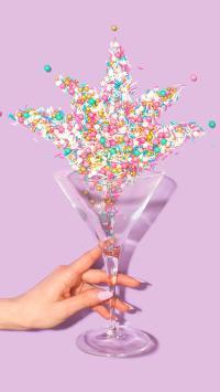 色彩 颗粒 玻璃杯 鸡尾酒杯 手部