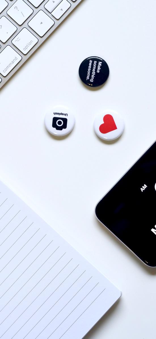 手机 黑白 键盘 卡针