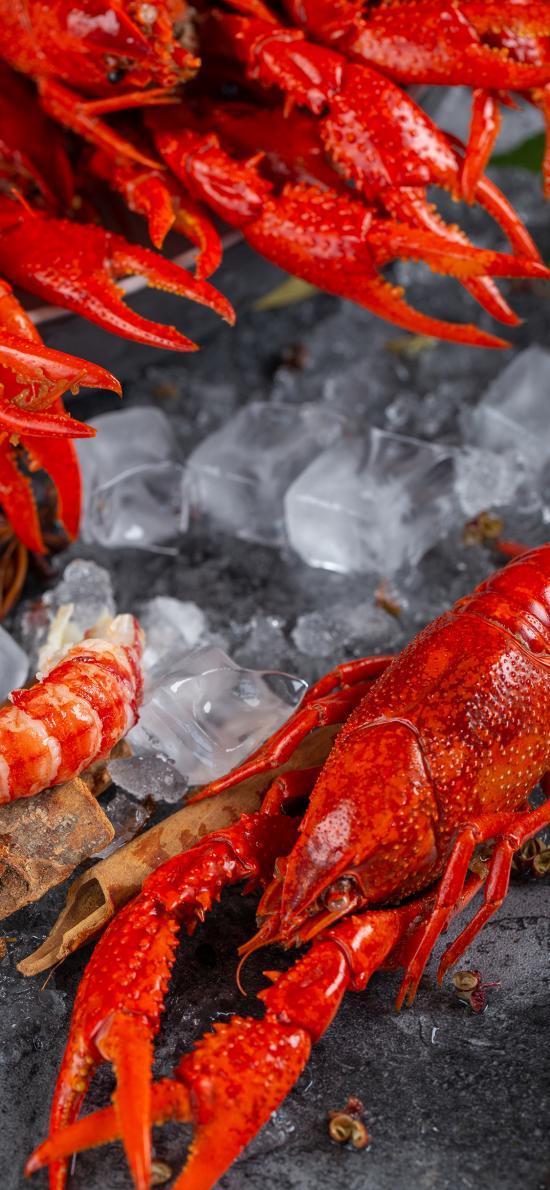 冰镇 小龙虾 冰块 鲜红