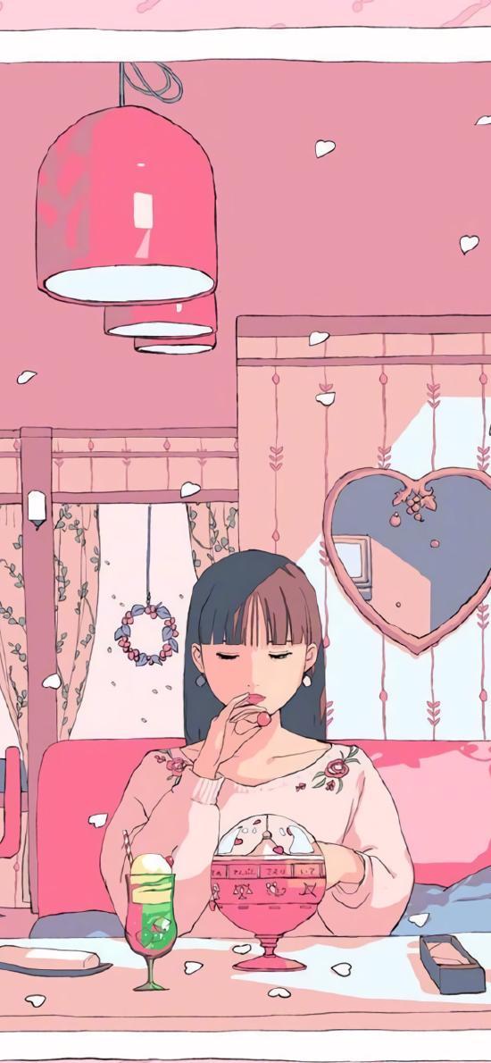 精致 女孩 粉色 插画 下午茶