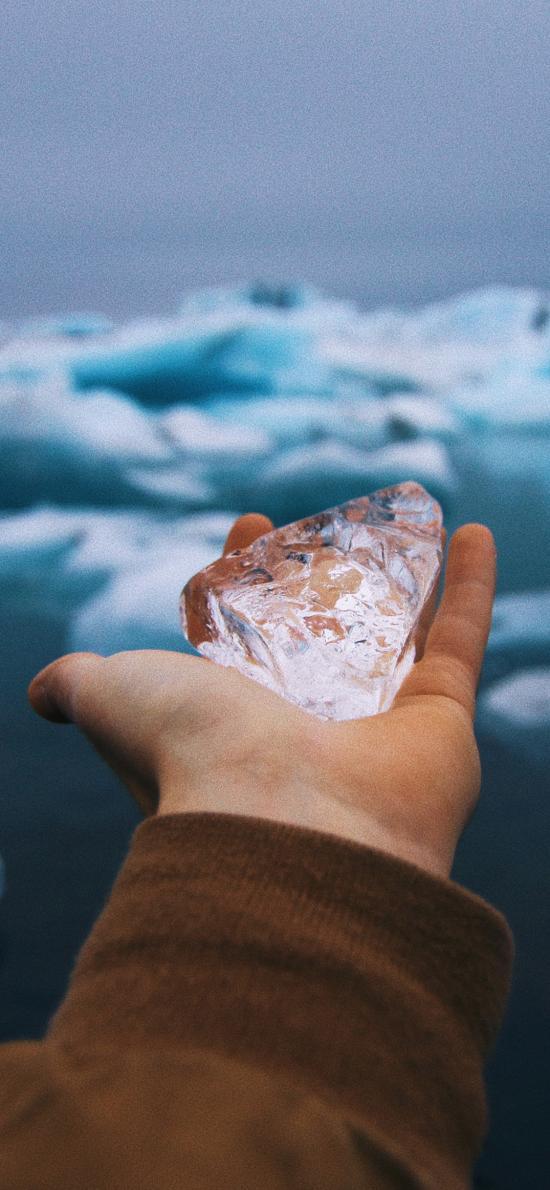 冰川 冰块 寒冷 手部