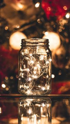 创意 夜晚 玻璃瓶 灯光 彩灯