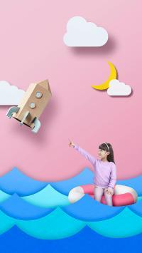 儿童 创意摄影 游泳圈 火箭 大海 小女孩