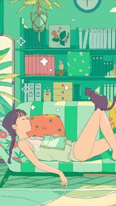 休息 睡觉 猫咪 女孩 居家 绿色 插画