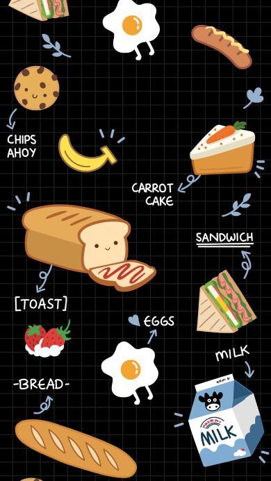 卡通 面包 吐司 煎蛋