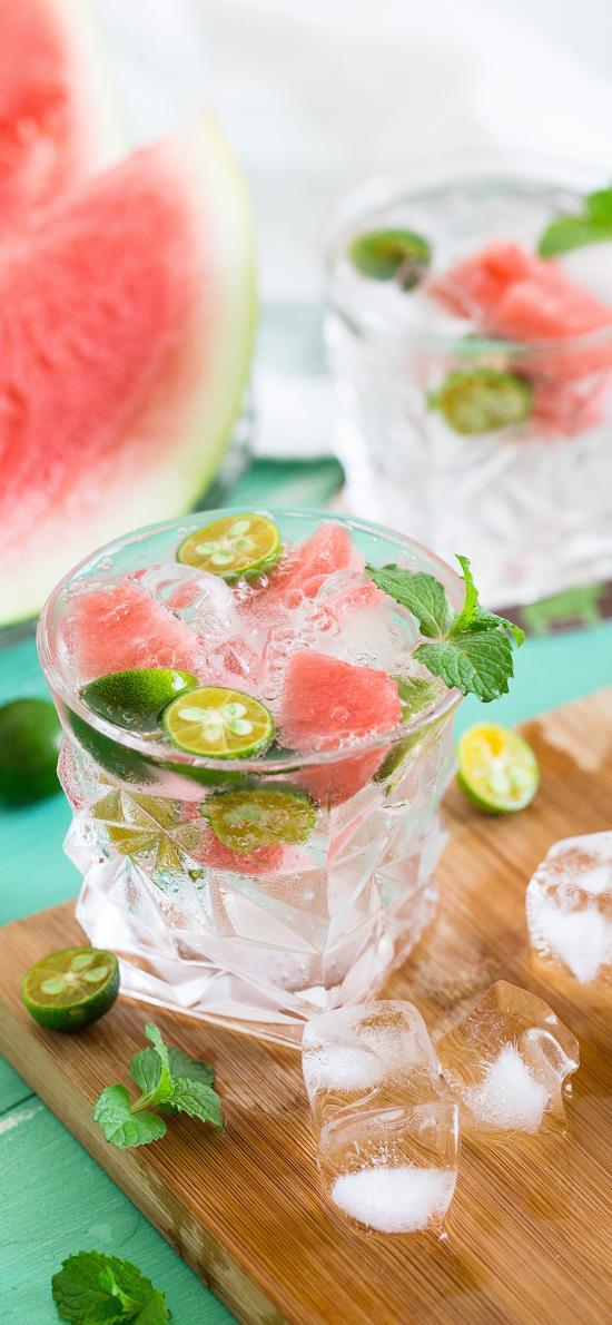 水果 果汁 青柠 冰块 玻璃杯