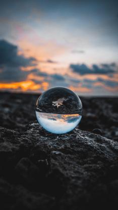 玻璃球 工艺品 透明 映射