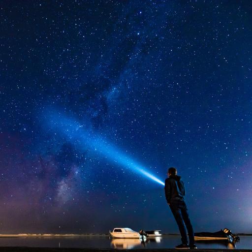 星空 人物 背影 射线