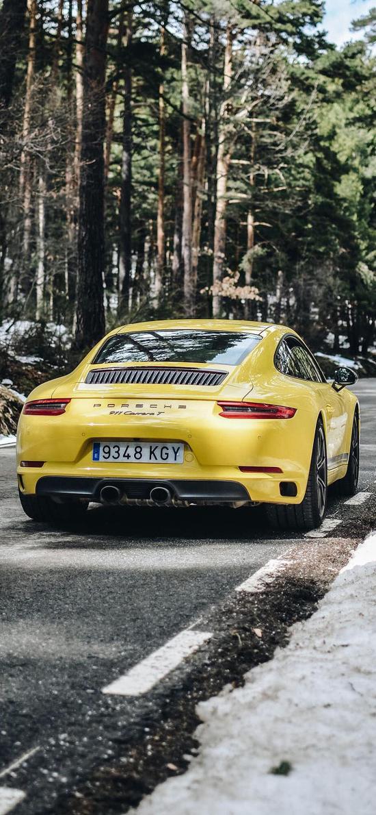 保时捷 超级跑车 道路 行驶 炫酷 黄色