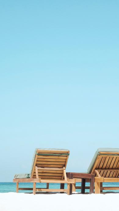 家具 躺椅 沙滩 蔚蓝 海边