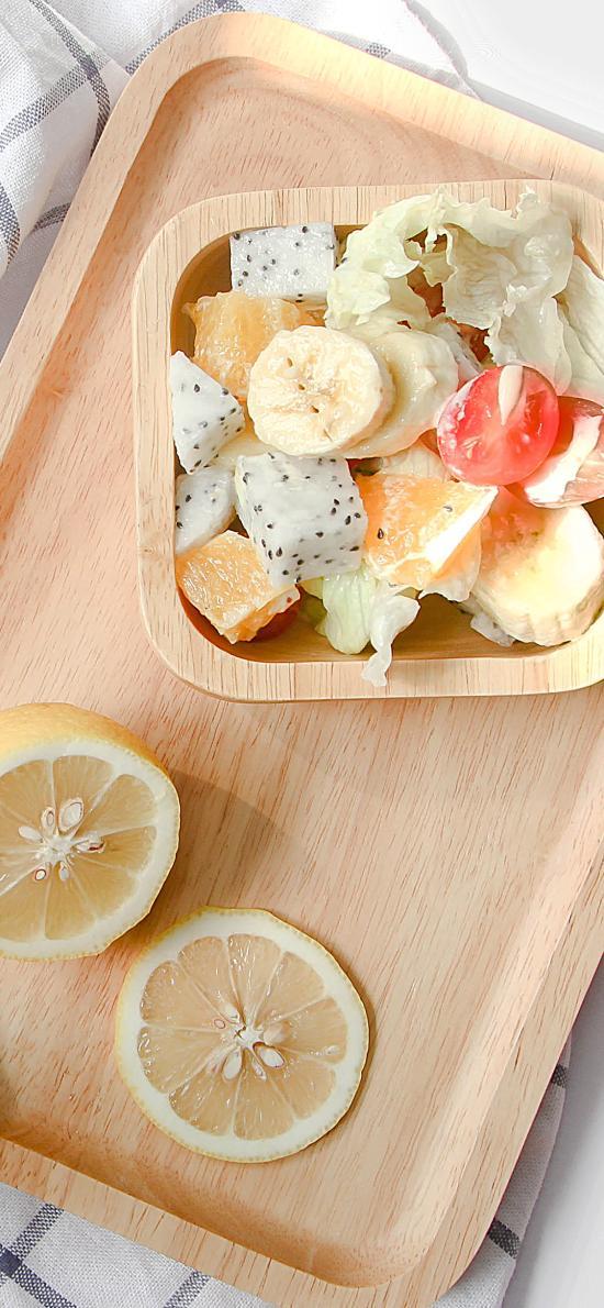 沙拉 水果 柠檬 托盘