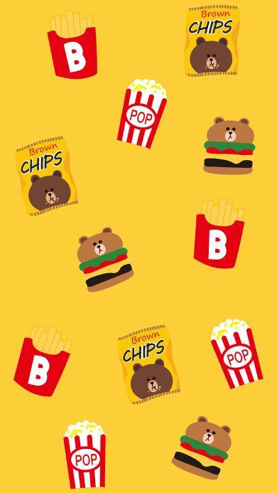 布朗熊 卡通 line friends 可爱 平铺 汉堡 薯片 黄色
