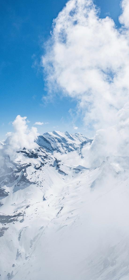 雪山 云 蓝白 寒冷 高处