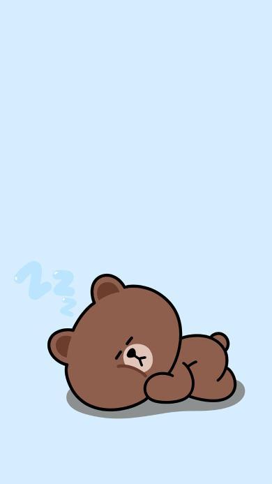 布朗熊 蓝色 line friends 卡通 睡觉 可爱