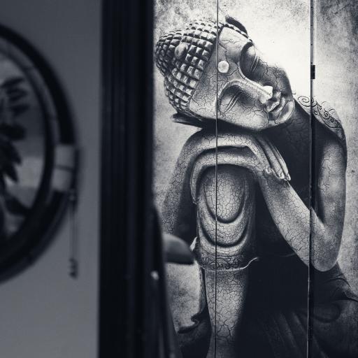 手绘 佛像 信仰 黑白