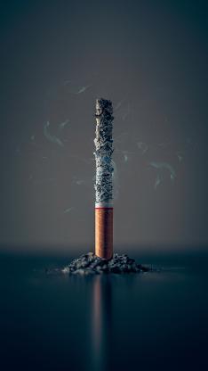 燃烧 灰烬 香烟 烟雾 尼古丁