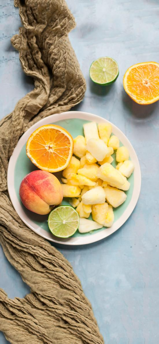 水果 水蜜桃 橙子 青柠 菠萝