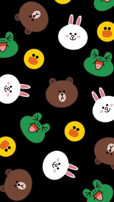 line friends 布朗熊 可妮兔 萨莉鸡 青蛙 黑色 平铺