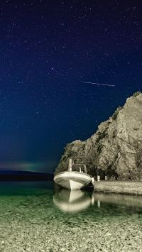 景色 船只 夜晚 唯美 清澈 水面 星空