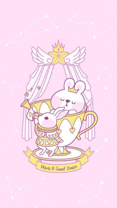 美梦 粉色 兔子 可爱 星座 吹喇叭