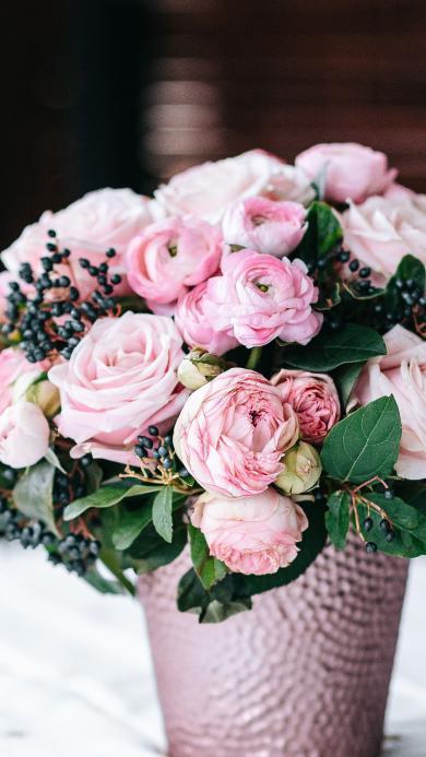 插花 花盆 鲜花 玫瑰 粉色 花艺