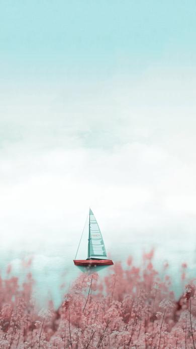 帆船 大海 渐变 鲜花 浪漫