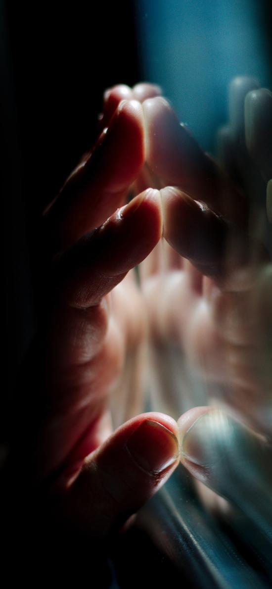 触摸 手 对称 玻璃 窗户