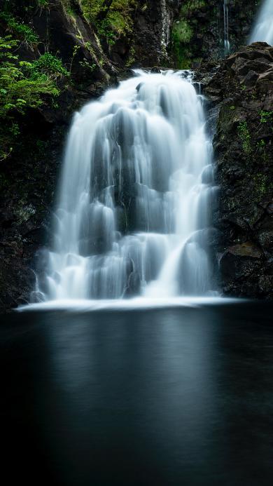 景色 瀑布 山石 水潭 户外