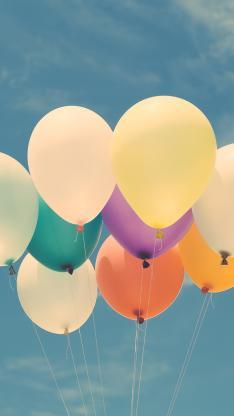气球 蓝天白云 色彩 喜庆