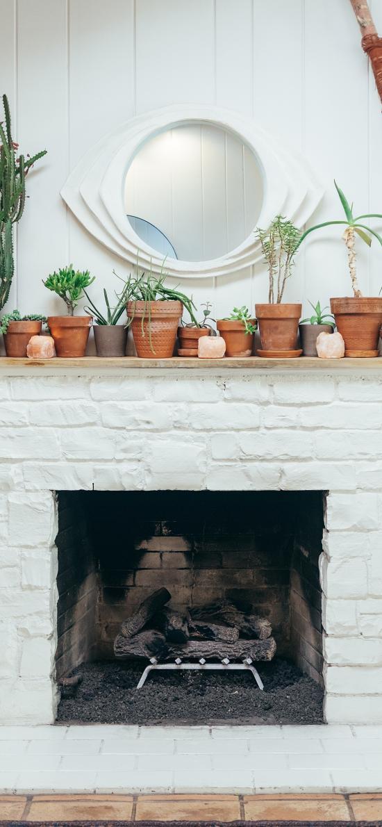 壁炉  盆栽 绿植 木柴 家居