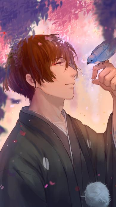 刀剑乱舞 大太刀男士 石切丸 日本 和服 手游 鸟 唯美