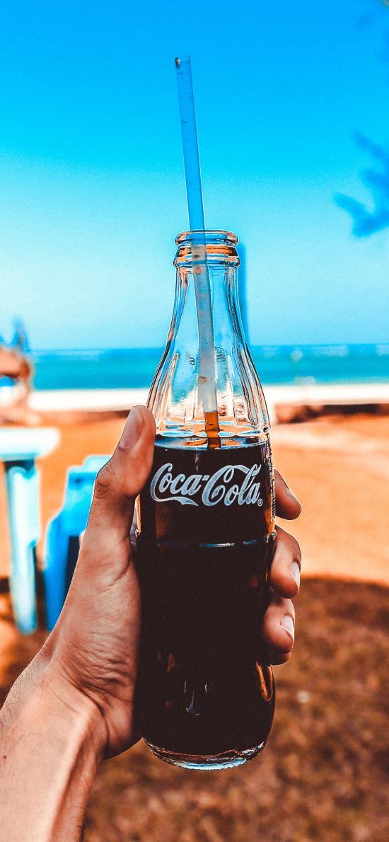 可口可乐 汽水 饮料 玻璃瓶 沙滩 夏日
