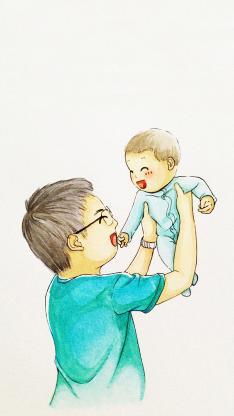 父亲节 插画 父亲 孩子
