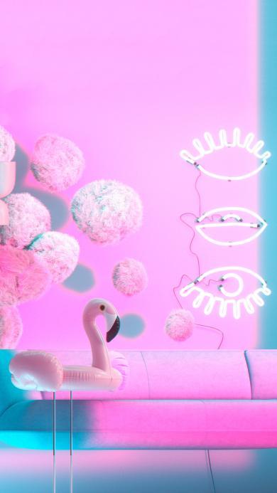 家居 装饰 粉色系 火烈鸟
