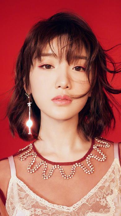 毛晓彤 演员 明星 艺人 短发 红色