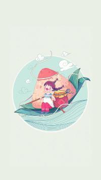 端午节 粽子 插画 龙舟 女孩