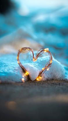 爱心 海浪 泡沫 灯泡