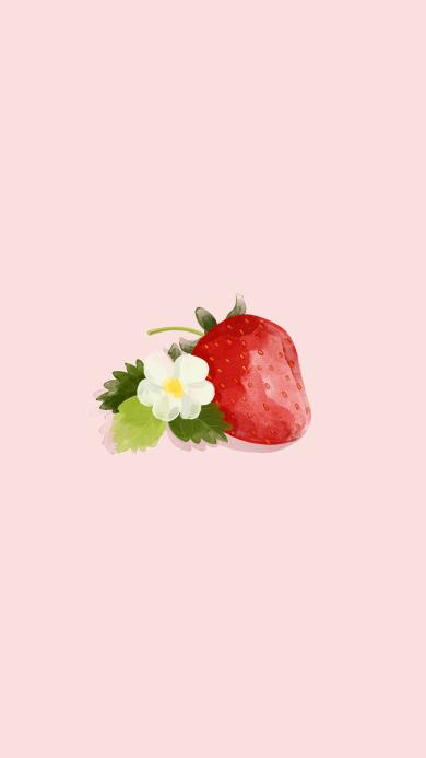 草莓 手绘 插画 粉色 水果 花